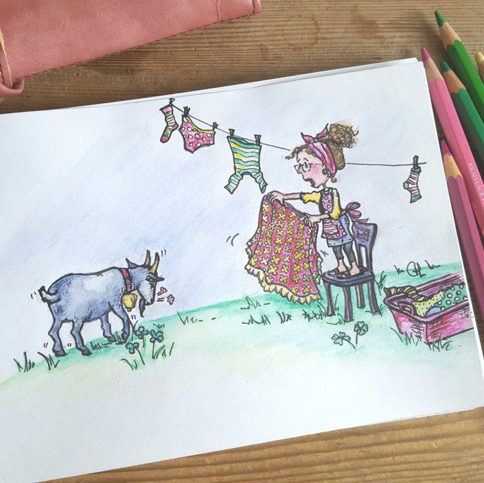 Zeichnung Ziegen-Kampf