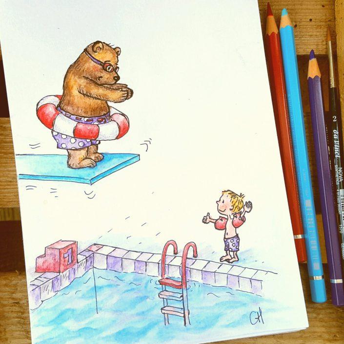 Noah & sein Freund der Bär im Schwimmbad