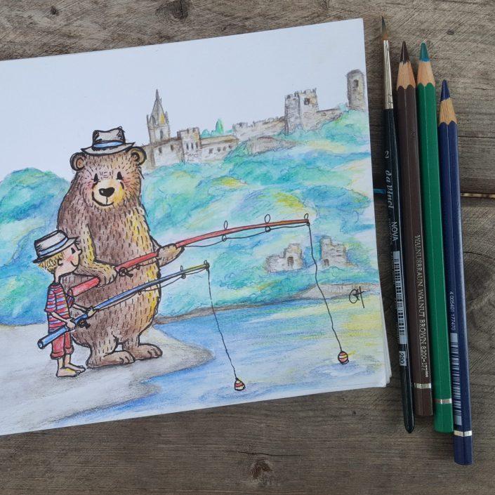 """Zeichnung """"Noah & sein Freund, der Bär beim Angeln"""""""