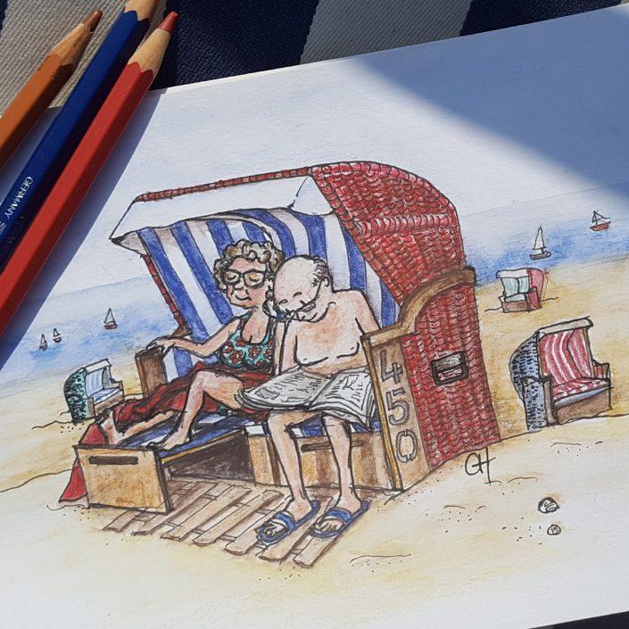 Zeichnung Nordsee-Strandkorb